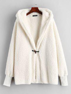 ZAFUL Faux Shearling Winter Coat - Warm White L