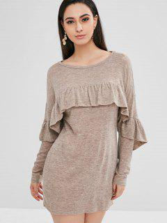 ZAFUL Ruffles Long Sleeve Shift Dress - Light Khaki S
