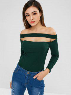 ZAFUL Ribbed Off Shoulder Knit Bodysuit - Dark Green M