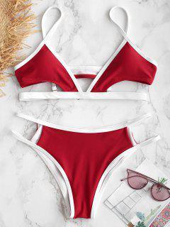 ZAFUL Ensemble De Bikini Découpé à Brodure Contrastée - Rouge Lave S
