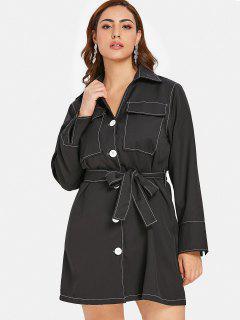 ZAFUL Button Up Plus Size Shirt Dress - Black 2x