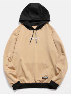 Hoodie Mit Kontrastfarbiger Buchstaben-Tasche - Khaki L