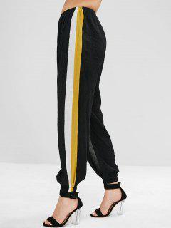 ZAFUL Side Stripe Crinkled Joggers Pants - Black M