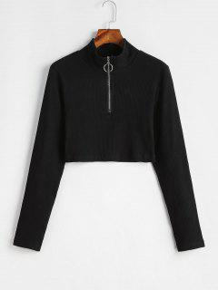 ZAFUL Half Zipper Cropped Ribbed Knit Top - Black L