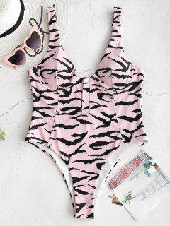 ZAFUL High Cut Thong Zebra Underwire Swimsuit - Light Pink M