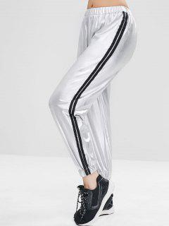 Striped Metallic Jogger Pants - Silver M