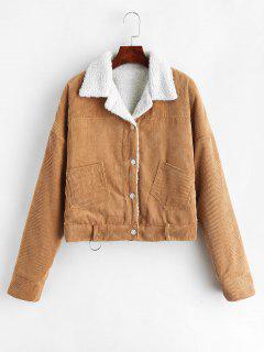 Fleece Drop Shoulder Corduroy Jacket - Light Brown L