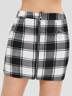 ZAFUL Zip Through Checked Pelmet Mini Skirt - Black M