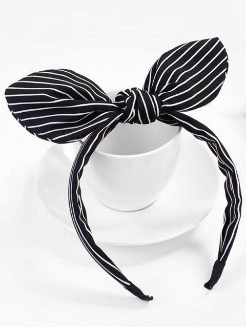 lady Cute Stripe Bowknot Hair Hoop - BLACK  Mobile