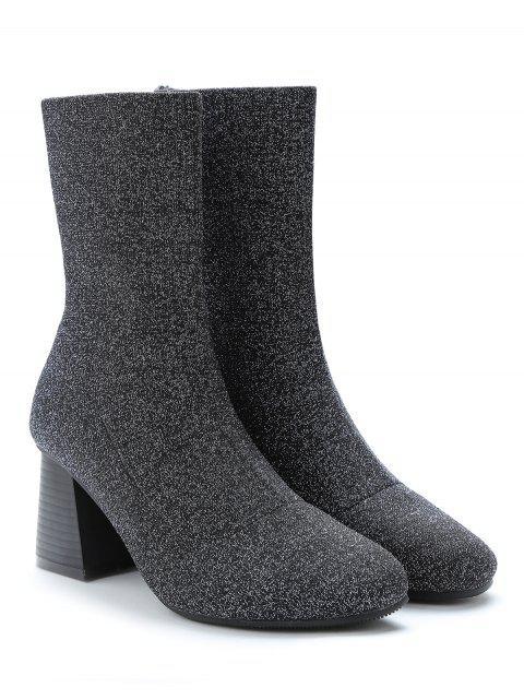 trendy Glitter Mid Heel Sock Mid Calf Boots - SILVER EU 39 Mobile