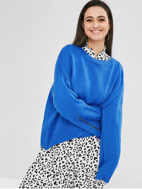fashion Oversized Zippered High Low Sweater - OCEAN BLUE ONE SIZE Mobile