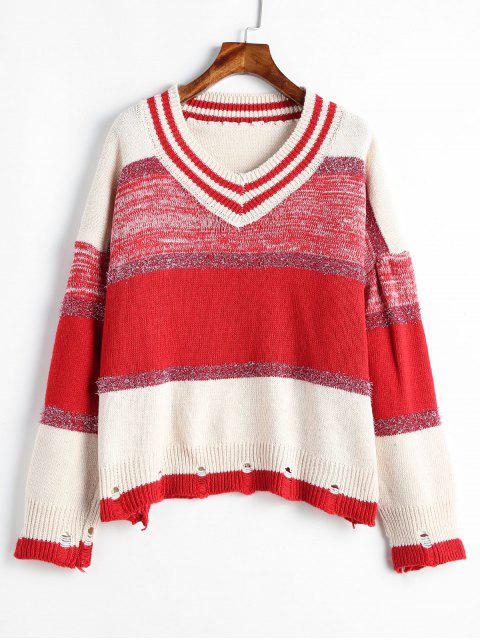 women Ripped Metallic Thread Color Block Sweater - MULTI-A ONE SIZE Mobile