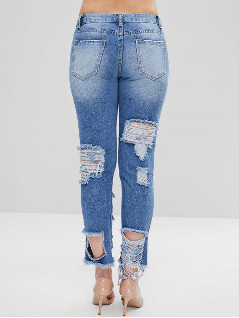 Cremallera desgastada jeans - Azul Denim L Mobile