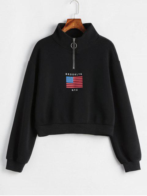 fancy American Flag Zip Mock Neck Sweatshirt - BLACK S Mobile