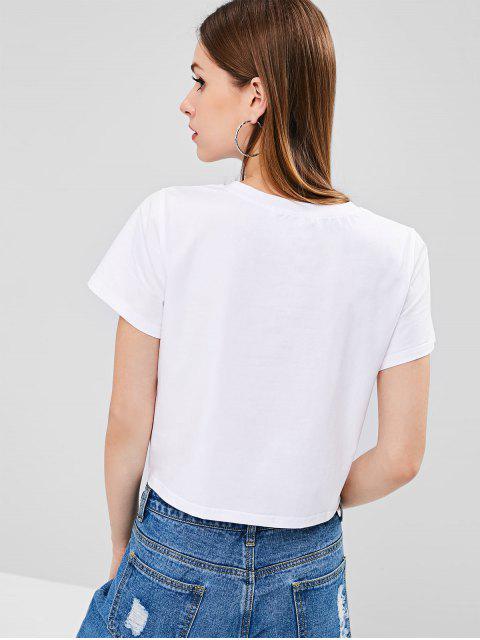T-shirt Nombril Exposé Graphique Émoticône Imprimé - Blanc XL Mobile