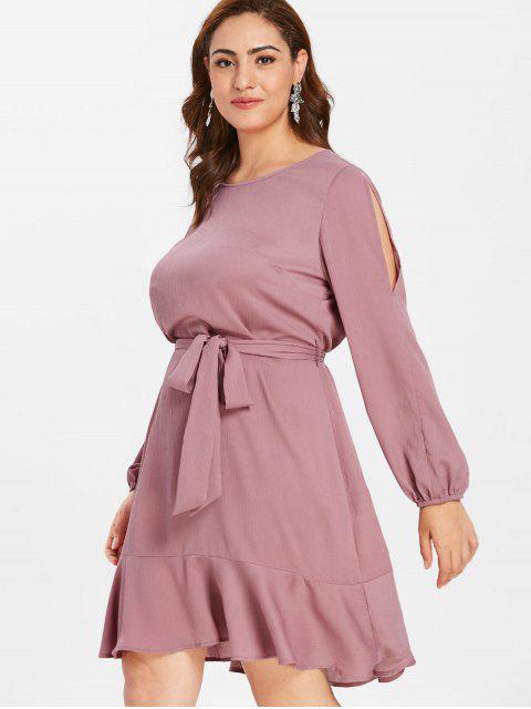 women ZAFUL Belted Plus Size Flounce Dress - LIPSTICK PINK 2X Mobile