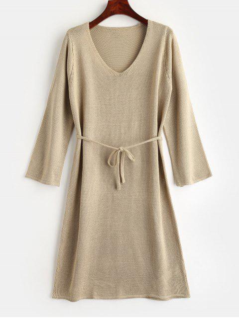 Gürtel Pullover Kleid - Helles Khaki S Mobile