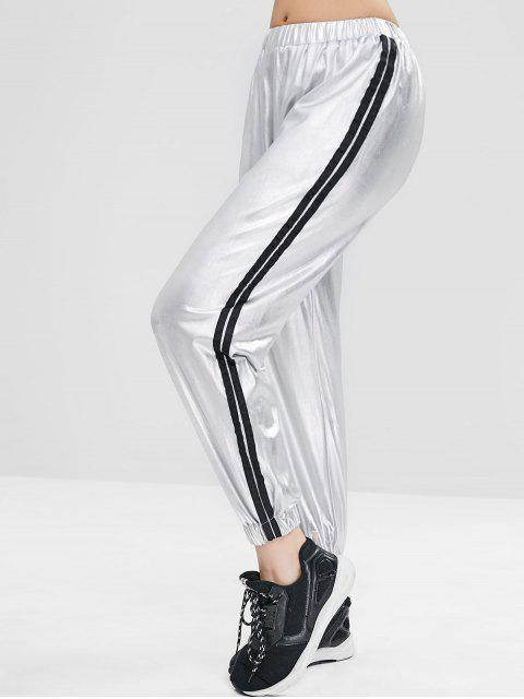 affordable Striped Metallic Jogger Pants - SILVER S Mobile
