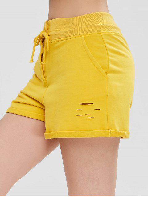 Pantalones cortos laminados de bolsillo apenado - Amarillo XL Mobile