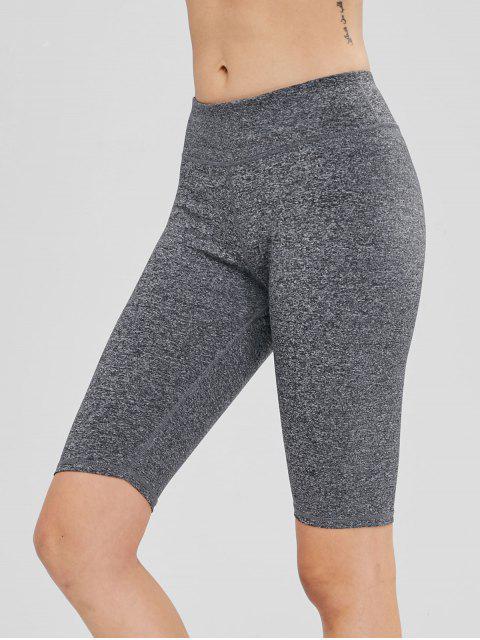 women Hidden Pocket Heather Skinny Shorts - GRAY L Mobile