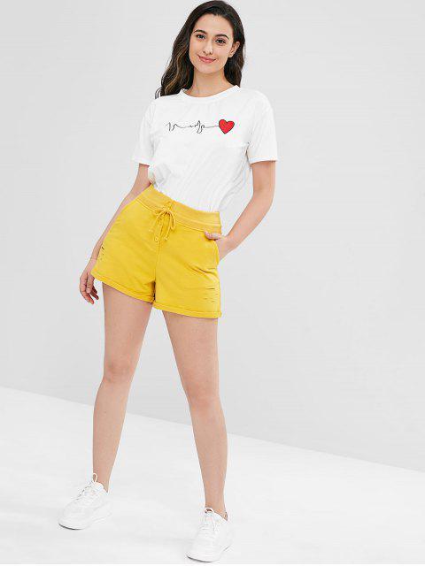 Distressed Pocket Gerollte Shorts - Gelb M Mobile