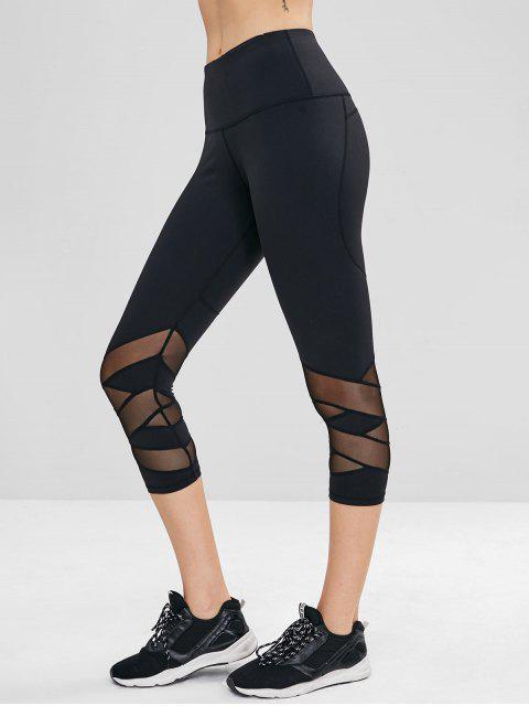 Netzeinsatz versteckte Taschen Crop Gym Leggings - Schwarz L Mobile