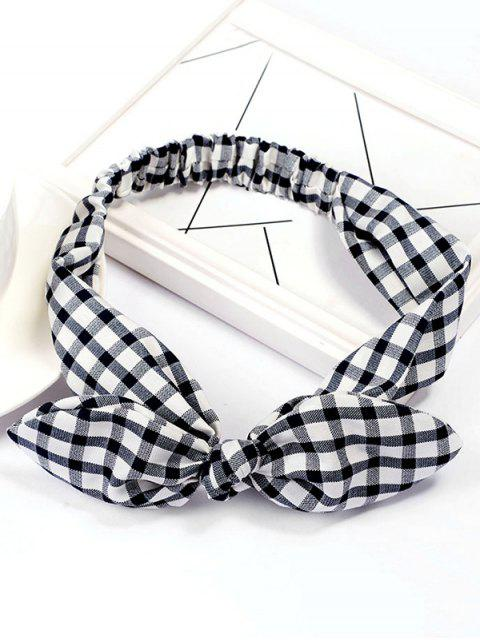 unique Checked Pattern Bowknot Elastic Hairband - BLACK  Mobile
