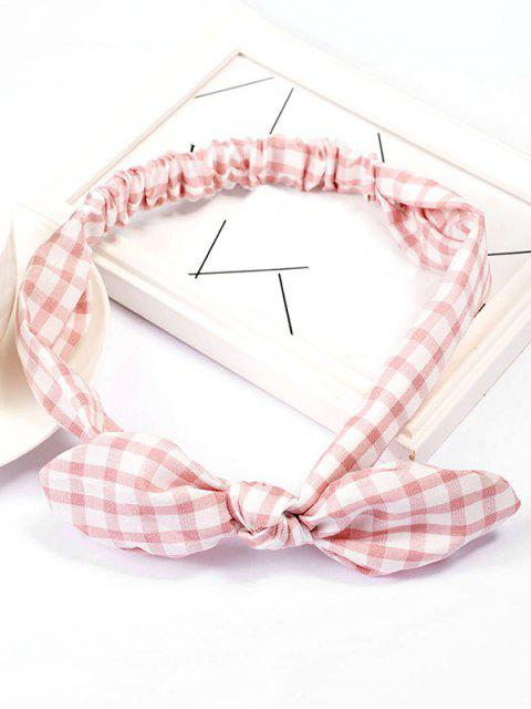 womens Checked Pattern Bowknot Elastic Hairband - PINK  Mobile