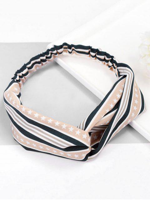 ladies Cute Stripe Star Pattern Elastic Hairband - LIGHT KHAKI  Mobile