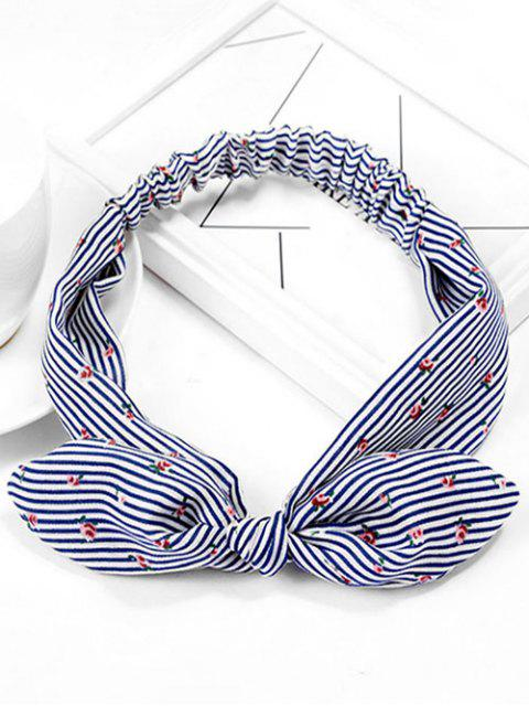 outfit Vintage Floral Striped Hairband - DEEP BLUE  Mobile