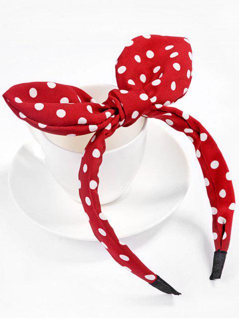 women's Cute Polka Dot Bowknot Hair Hoop - RED  Mobile