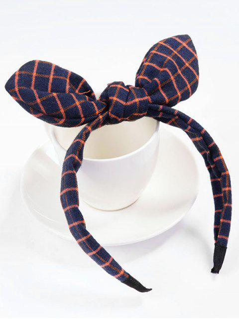 shop Checked Pattern Bowknot Hair Band - RED  Mobile