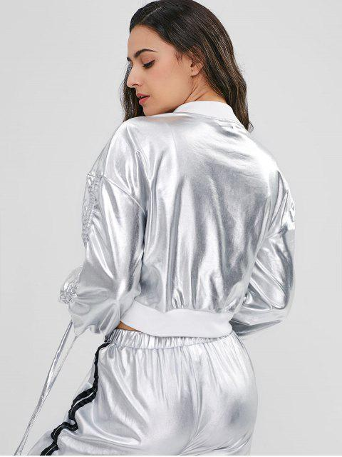 Drop Shoulder Kordelzug Metallic Jacke - Silber XL Mobile