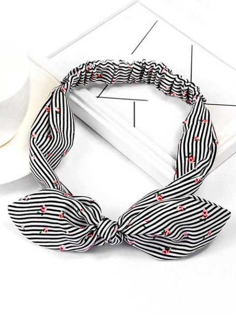 shop Vintage Floral Striped Hairband - BLACK  Mobile