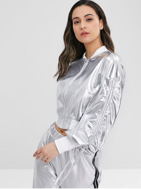 Caída de hombro con cordón chaqueta metálica - Plata M Mobile