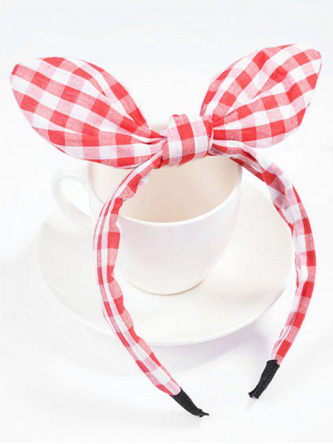 affordable Plaid Bowknot Hair Hoop - RED  Mobile
