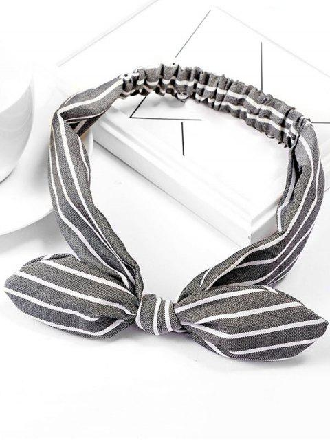 fancy Striped Bowknot Elastic Hairband - GRAY  Mobile