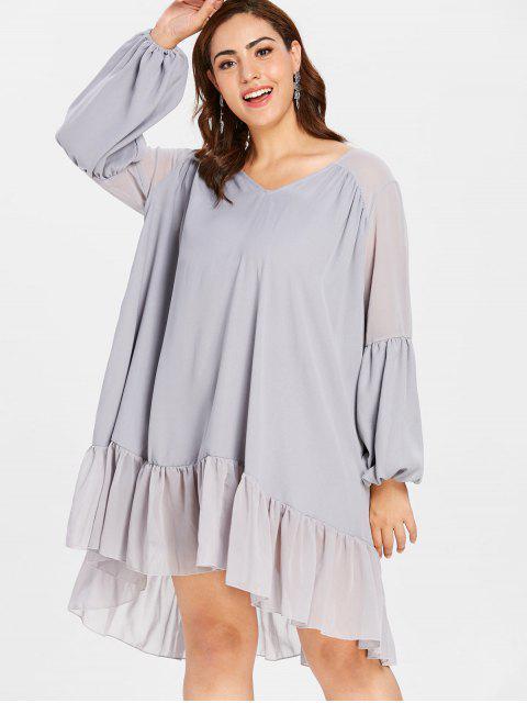 chic ZAFUL Plus Size Lantern Sleeve Flounce Dress - BLUE GRAY 4X Mobile