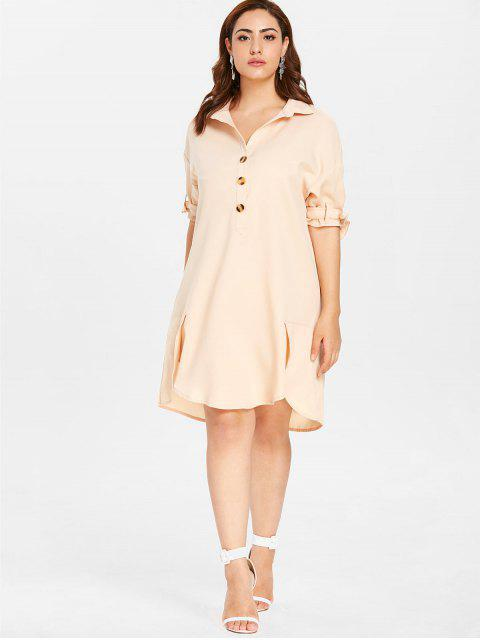 trendy ZAFUL Plus Size Shift Buttoned Shirt Dress - BLANCHED ALMOND 4X Mobile