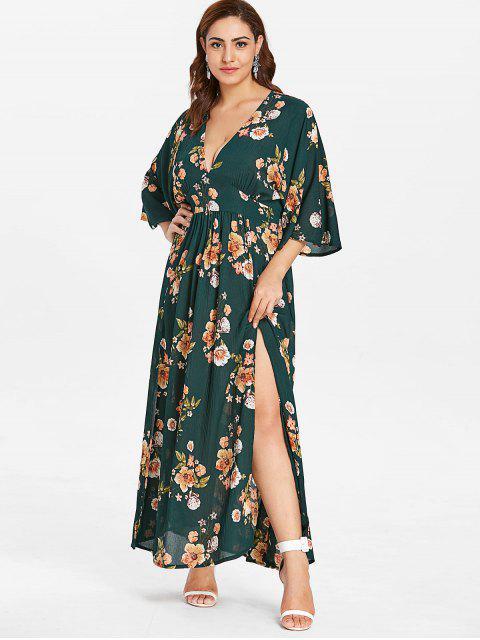 ZAFUL Vestido de corte bajo con abertura floral - Multi 1X Mobile