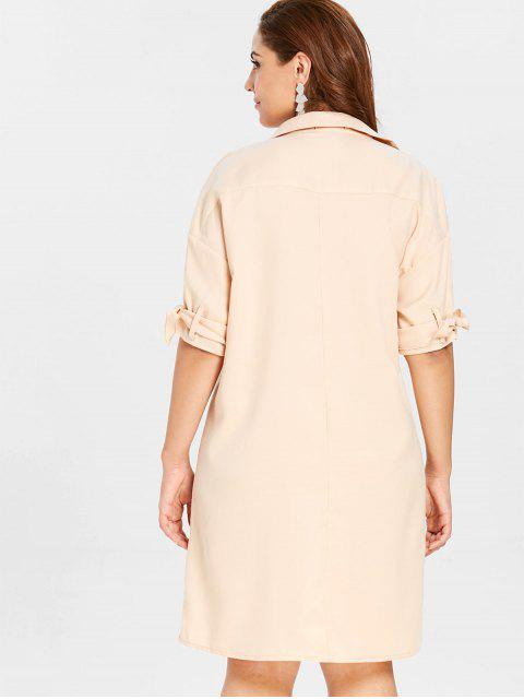 outfit ZAFUL Plus Size Shift Buttoned Shirt Dress - BLANCHED ALMOND 2X Mobile