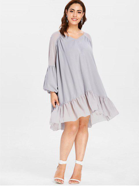 fancy ZAFUL Plus Size Lantern Sleeve Flounce Dress - BLUE GRAY L Mobile
