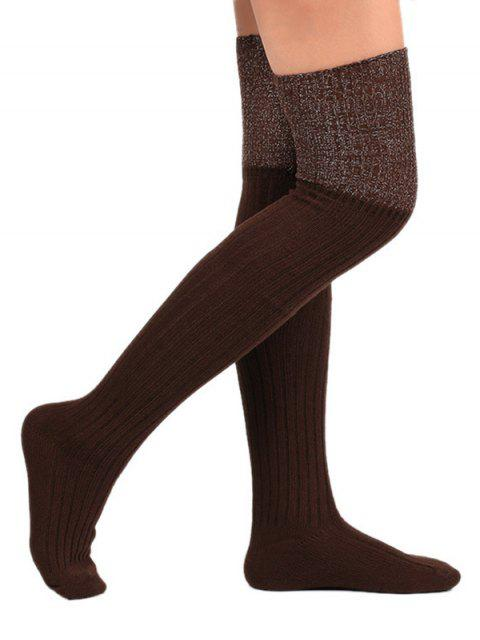 hot Color Block Thigh High Socks - COFFEE  Mobile