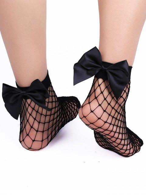 hot Bowknot Back Mesh Ankle Socks - BLACK  Mobile