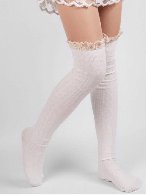 shop Solid Color Lace Thigh Stockings - WHITE  Mobile
