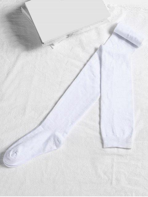 online Solid Color Cotton Thigh High Socks - WHITE  Mobile