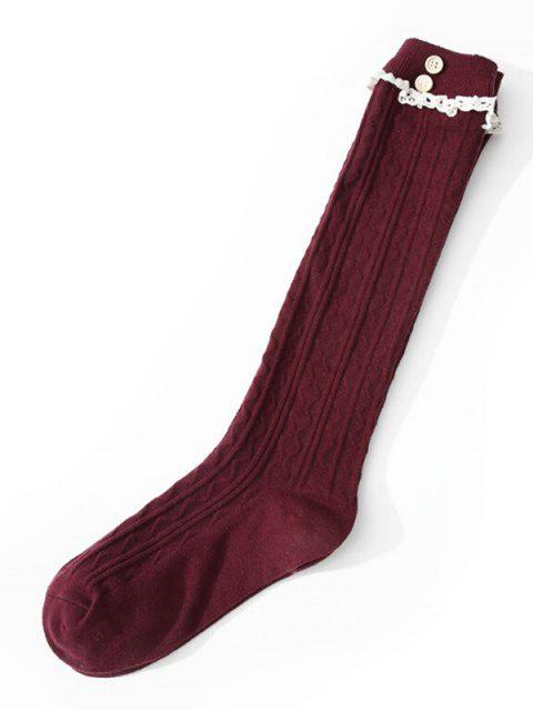 shops Elegant Solid Color Lace Thigh Stocking - RED WINE  Mobile