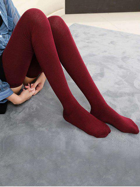 chic Solid Color Cotton Thigh High Socks - RED WINE  Mobile