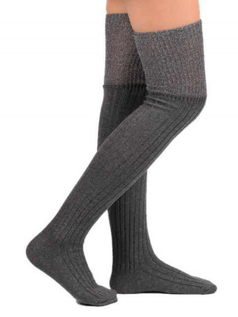 outfit Color Block Thigh High Socks - GRAY  Mobile