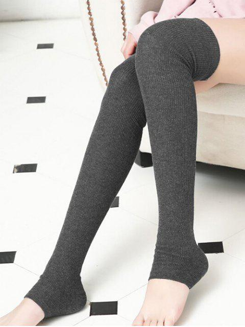 womens Winter Solid Color Leg Warmers - GRAY  Mobile